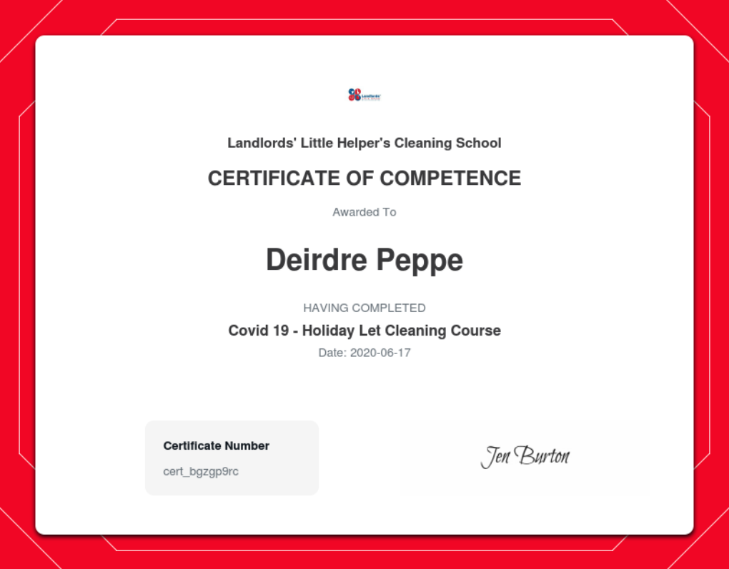 COVID-19 - Holiday Let Cleaning Certificate